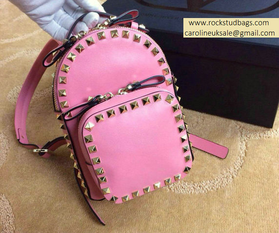 Valentino Pink Rockstud Small Backpack(Silver Hardware)