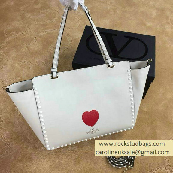 "Valentino ""for special you"" Red Heart Rockstud Medium Tote Bag 2015"