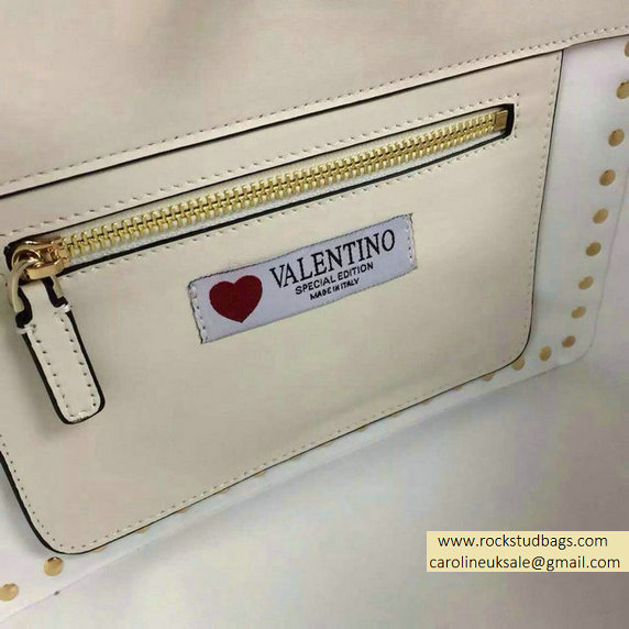 "Valentino ""for special you"" Red Heart Rockstud Small Tote Bag 2015"