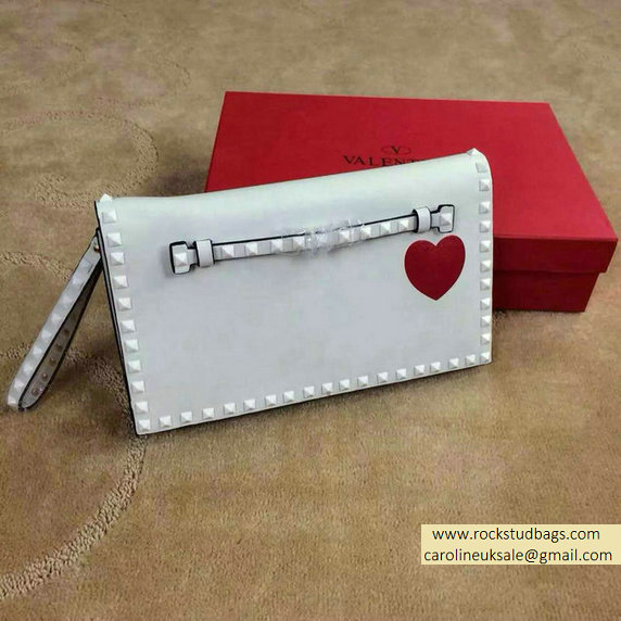 "Valentino ""for special you"" Red Heart Rockstud Clutch in White"