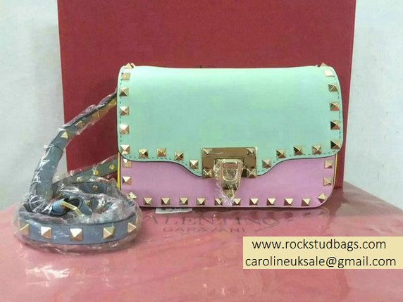 Valentino Watercolor Flap Rockstud Crossbody Bag Green/Pink/Yellow