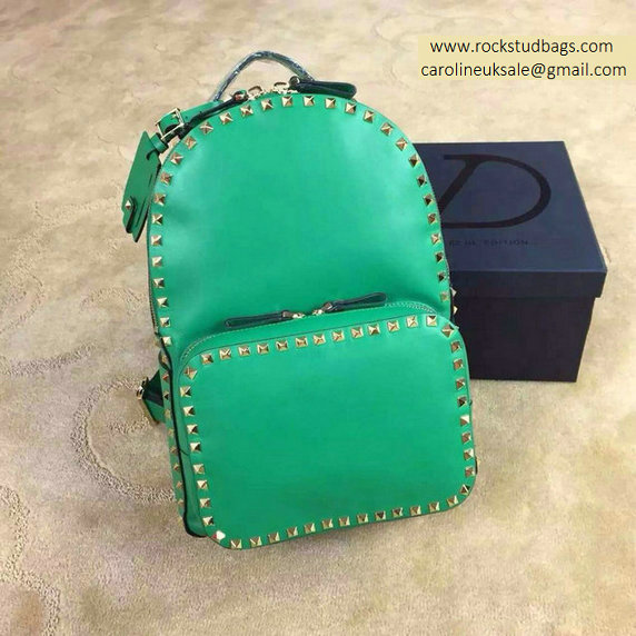 2015 Valentino Garavani Rockstud Medium Backpack in Green