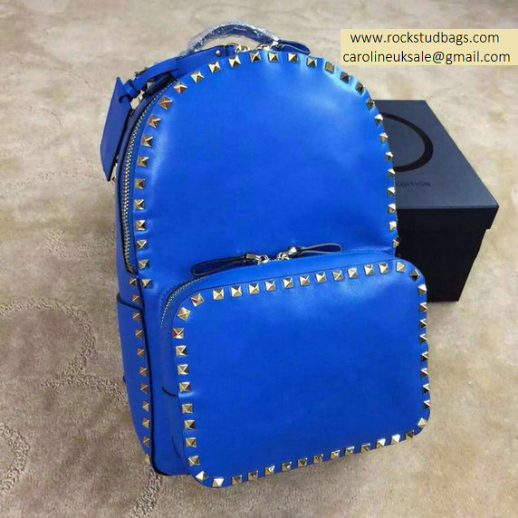 2015 Valentino Garavani Rockstud Medium Backpack in Blue