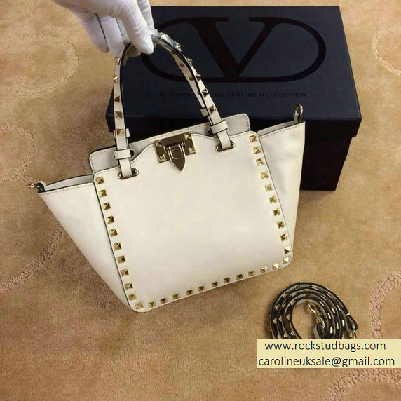 Valentino Rockstud Mini Tote in White 2015