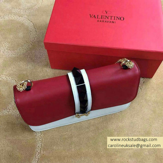 Valentino Psychedelic Rockstud Lock Medium Shoulder Bag Red/White