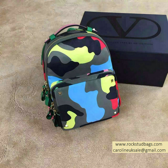 Valentino Garavani Small Backpack in Psychedelic Camouflage Nylon 2015