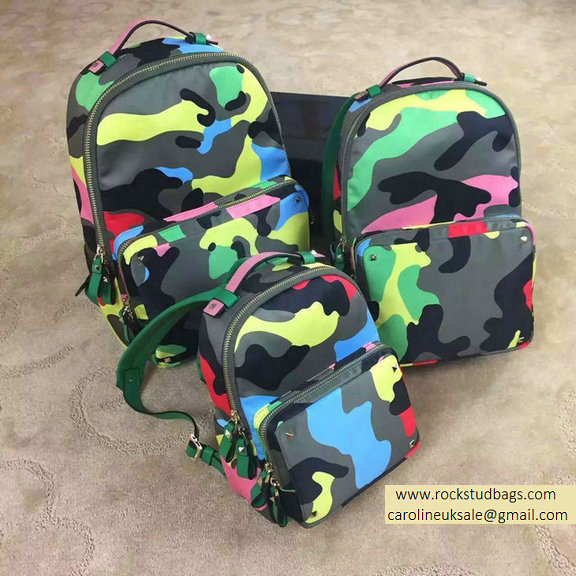 Valentino Garavani Medium Backpack in Psychedelic Camouflage Nylon 2015