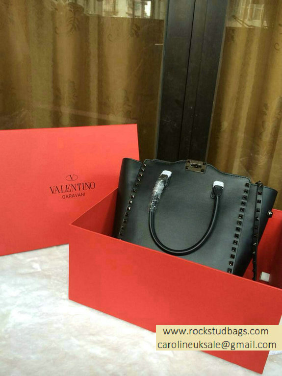 f81fdb72e0 Valentino Garavani Rockstud Double Handle Bag Black(Platinum Hardware) 2015  larger image