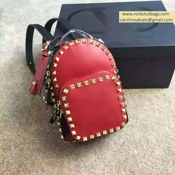 Valentino Multicolor Red Rockstud Small Backpack(Silver Hardware)