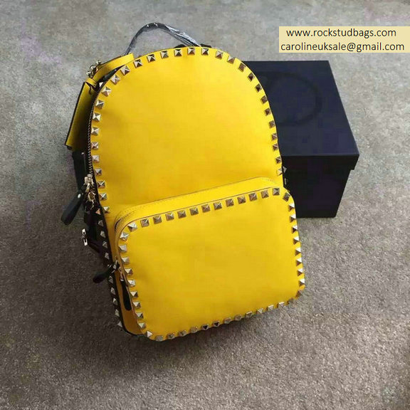 Valentino Multicolor Yellow Rockstud Medium Backpack(Silver Hardware)