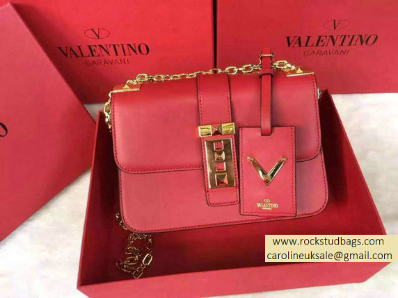 Valentino Chain Shoulder Bag in Red Calfskin 2015