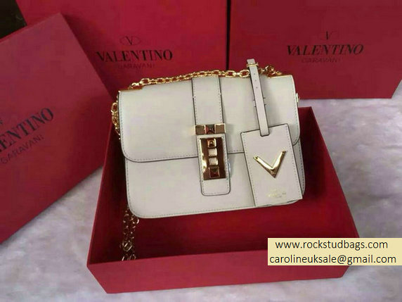 Valentino Chain Shoulder Bag in White Calfskin 2015