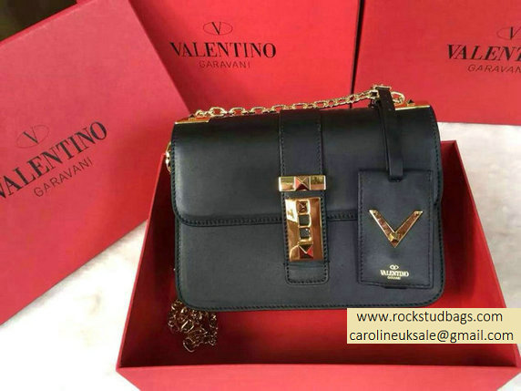 Valentino Chain Shoulder Bag in Black Calfskin 2015