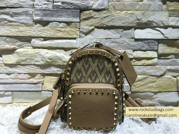 Valentino Fabric Rockstud Small Backpack Brown 2015
