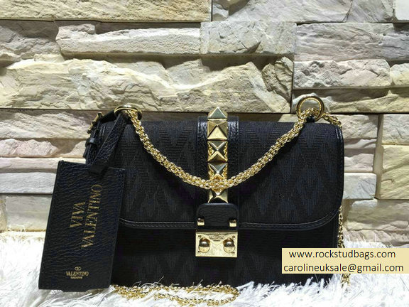 Valentino Small Fabric Chain Shoulder Bag Black 2015
