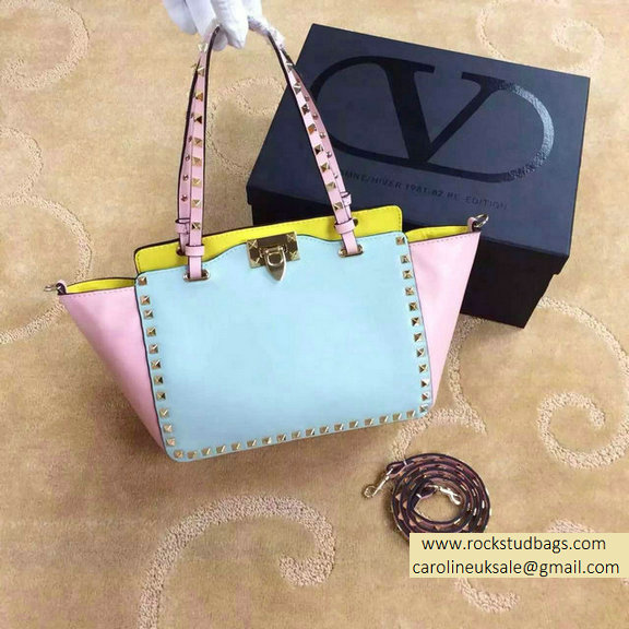 Valentino Small Rockstud Tri-color Tote 2015 Blue/Pink/Yellow