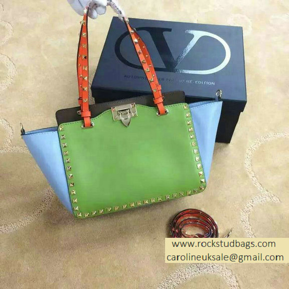 Valentino Small Rockstud Tri-color Tote 2015 Green/Blue/Orange