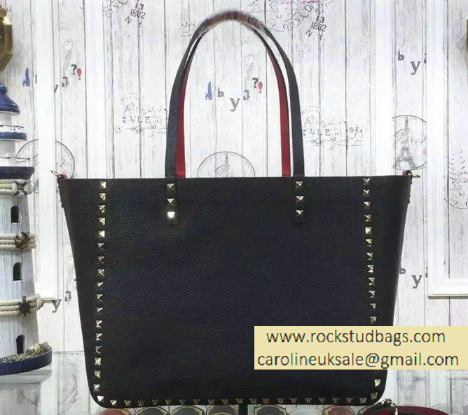 Valentino Rockstud Double Medium Reversible Tote Black 2015