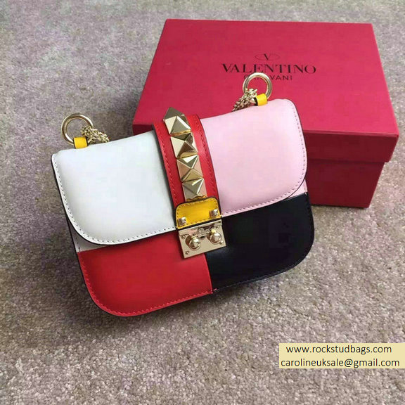 Valentino Multicolor Small Chain Shoulder Bag White/Pink/Red/Black