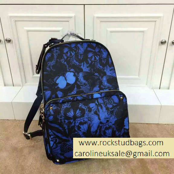Valentino Rockstud Large Backpack Camubutterfly Printed Nylon 2015