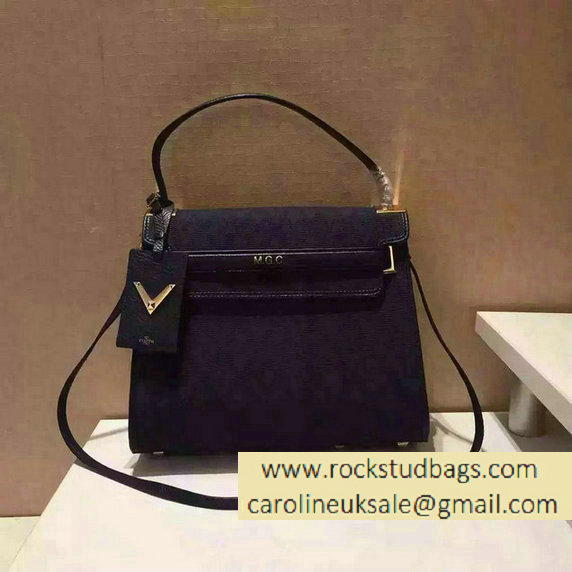 Valentino Jacquard Fabric Single Handle Bag Dark Blue 2015