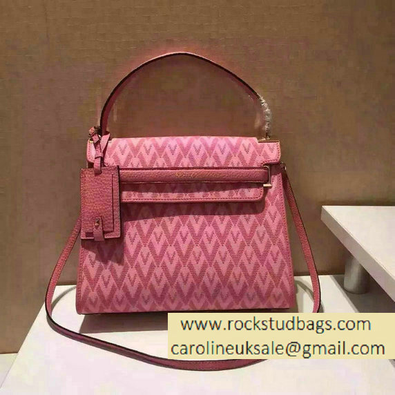 Valentino Jacquard Fabric Single Handle Bag Pink 2015