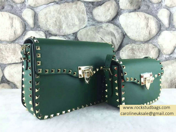 Valentino Rockstud Cross-Body Bag in Green Calfskin
