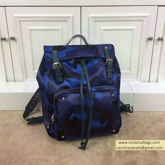 Valentino Blue Nylon Camouflage Medium Backpack 2015