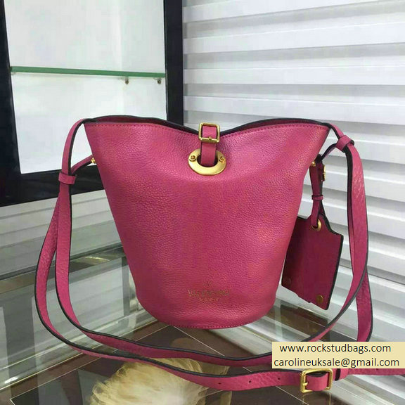 Valentino Eye On You Vitello Bucket Bag Fuchsia