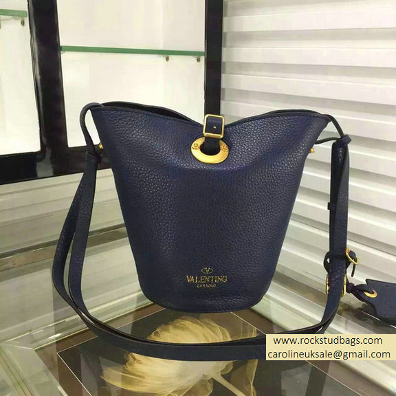 Valentino Eye On You Vitello Bucket Bag Navy