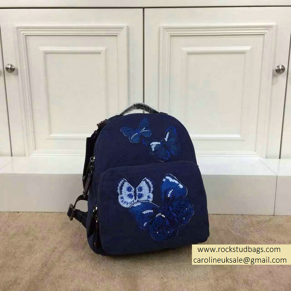 Valentino Blue Butterfly Small Backpack 2015