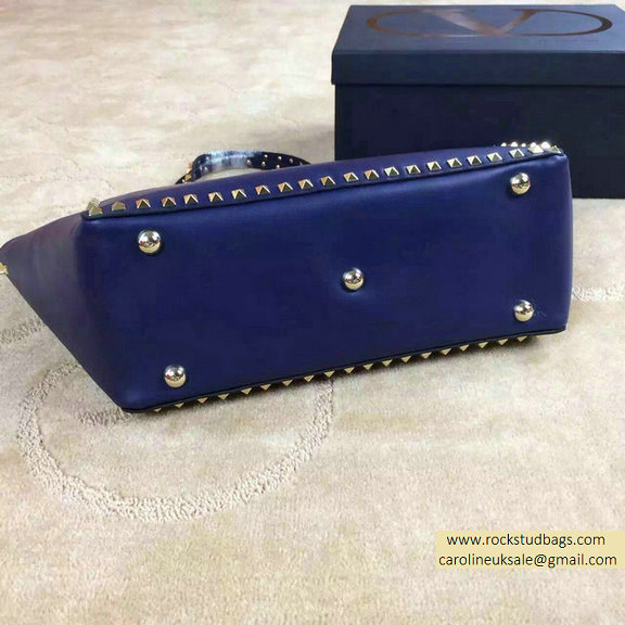 Valentino Medium Smooth Calfskin Rockstud Tote Deep Blue
