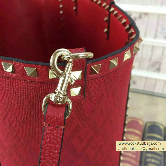 2015 Valentino Jacquard Fabric Rockstud Double Medium Reversible Tote Red