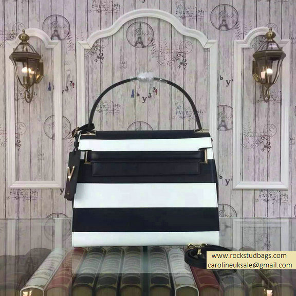 Valentino Singal Handle Bag in Black and White Fall 2015