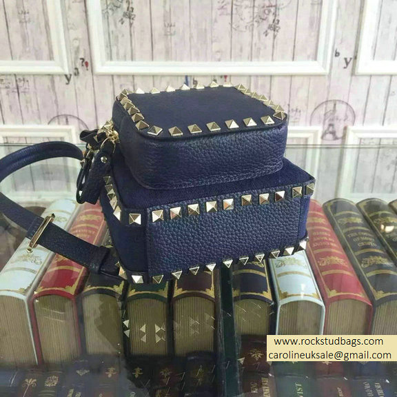 Valentino Fabric Rockstud Small Backpack Blue 2015