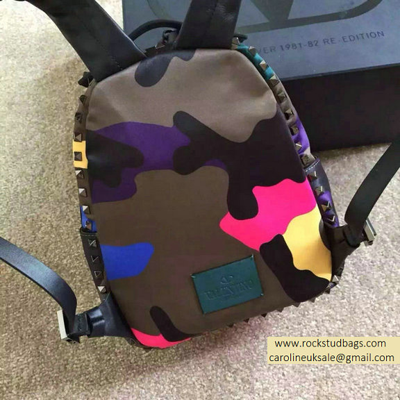 2015 Valentino Garavani Small Backpack in Rosy Camouflage Nylon