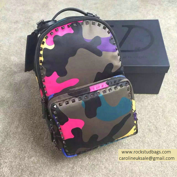 2015 Valentino Garavani Medium Backpack in Rosy Camouflage Nylon