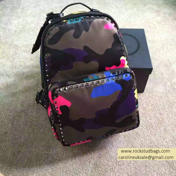 2015 Valentino Garavani Large Backpack in Rosy Camouflage Nylon