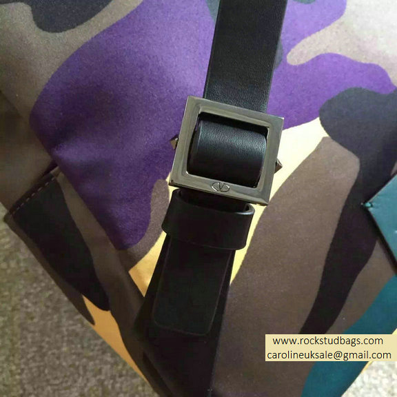 2015 Valentino Garavani Medium Backpack in Yellow Camouflage Nylon