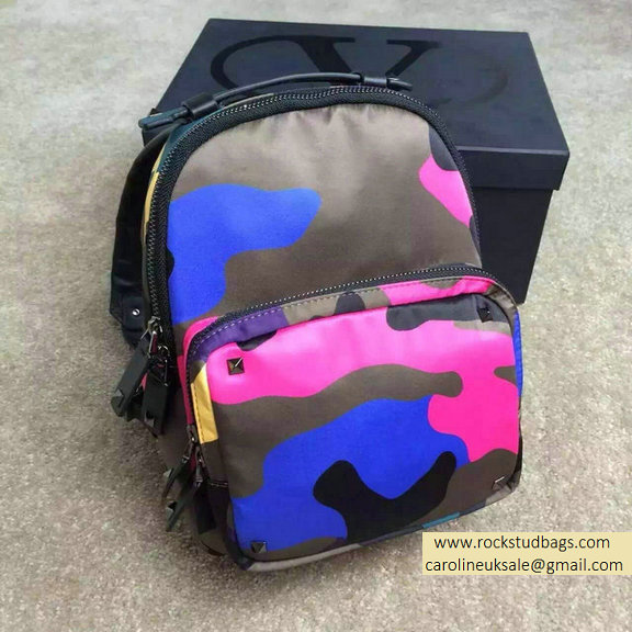 2015 Valentino Garavani Small Backpack in Blue Camouflage Nylon