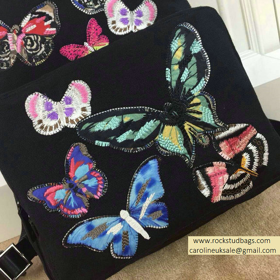 2015 Valentino Camu Butterfly Large Backpack Black