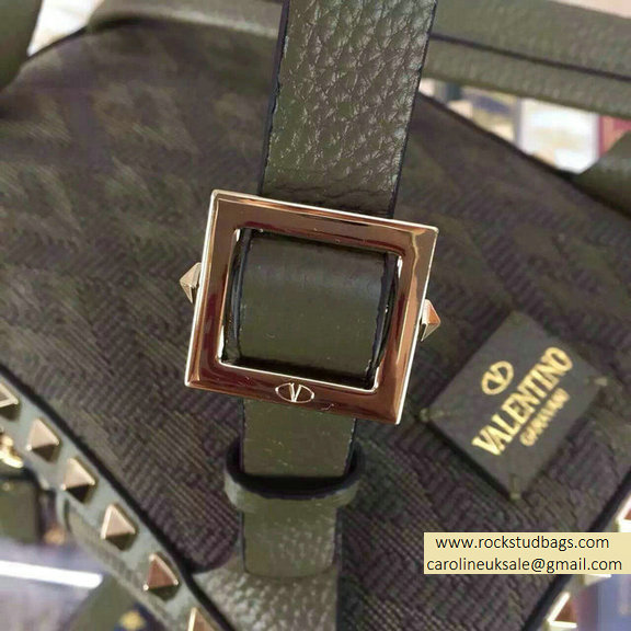 Valentino Fabric Rockstud Small Backpack Army Green