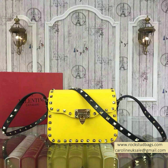 Valentino Rockstud Cross-Body Bag in Two Tone Calfskin Yellow/Black