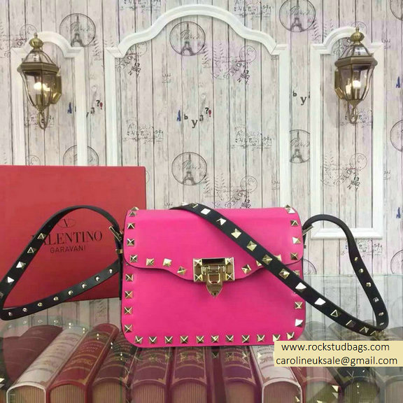 2015 Valentino Rockstud Cross-Body Bag in Two Tone Calfskin Rosy/Black