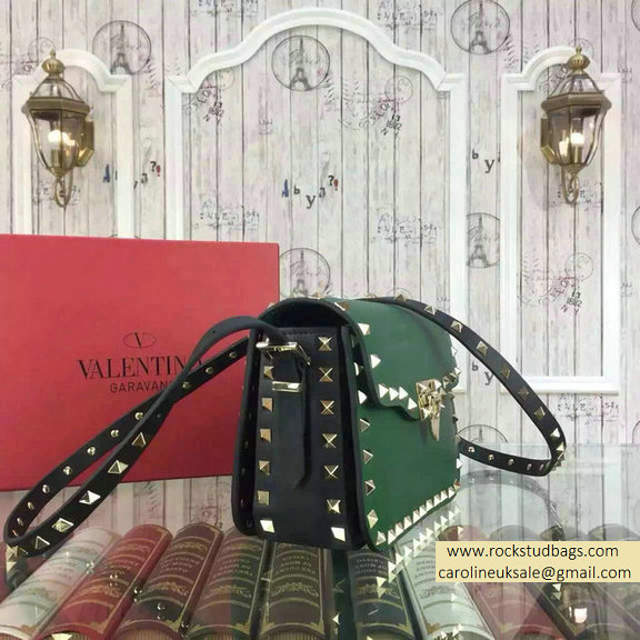 2015 Valentino Rockstud Cross-Body Bag in Two Tone Calfskin Green/Black