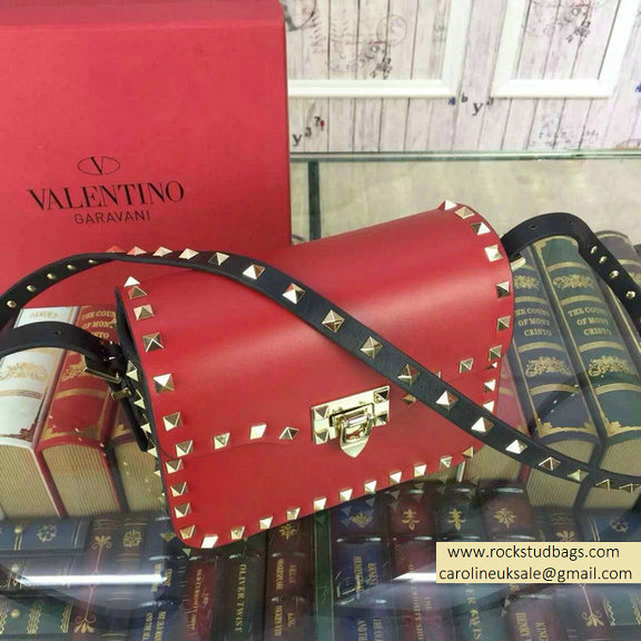 2015 Valentino Rockstud Cross-Body Bag in Two Tone Calfskin Red/Black