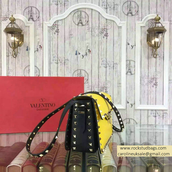 2015 Valentino Rockstud Shoulder Bag in Two Tone Calfskin Yellow/Black