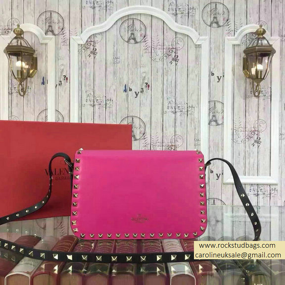 2015 Valentino Rockstud Shoulder Bag in Two Tone Calfskin Rosy/Black