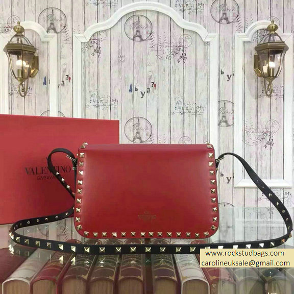 Valentino Rockstud Shoulder Bag in Two Tone Calfskin Red/Black