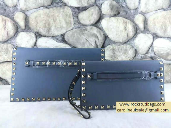 Valentino Rockstud Small/Medium Clutch in Ciel Calfskin